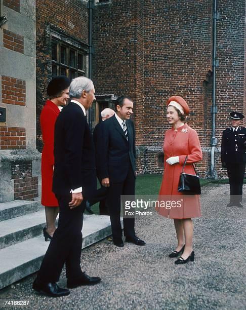 Pat Nixon, British Prime Minister Edward Heath , US President Richard Nixon and Queen Elizabeth II at Chequers, Buckinghamshire, 3rd October 1970.