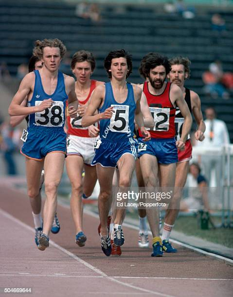Paul Williams of Canada leads David Moorcroft Sebastian Coe and Frank Clement of Great Britain and Dick Quax of New Zeland in the men's 1500 metres...