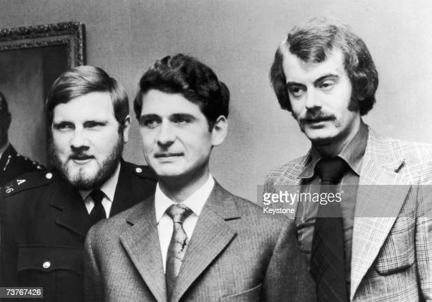 Michael Hills, Inspector James Beaton and Detective Constable Peter Edmonds, 4th July 1974. The three were involved in foiling an attempt to kidnap...