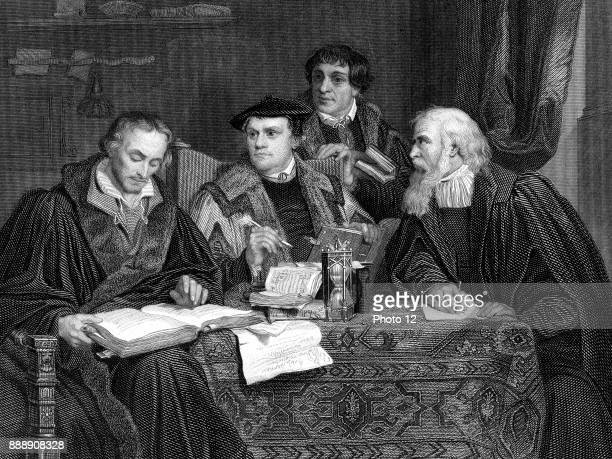 Left to Right Philip Melancthon Martin Luther Pomeranus and Cruciger the four great German Protestant theologians shown working on Luther's...
