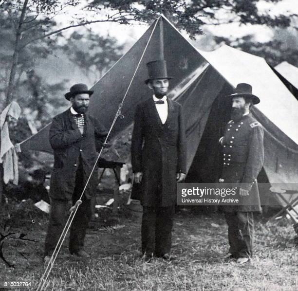 Photograph of Allan Pinkerton President Abraham Lincoln and John Alexander McClernand during the Battle of Antietam Dated 19th Century