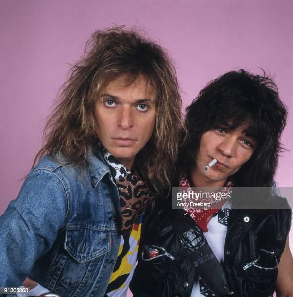 Portrait of singer David Lee Roth and guitarist Eddie Van Halen of the popular rock group 'Van Halen' New Haven CT 1984