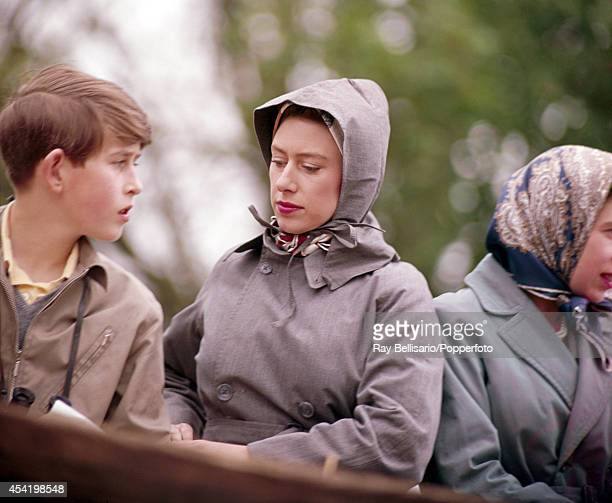 Prince Charles Princess Margaret and Queen Elizabeth II during the Badminton Horse Trials in Gloucestershire on 21st April 1961
