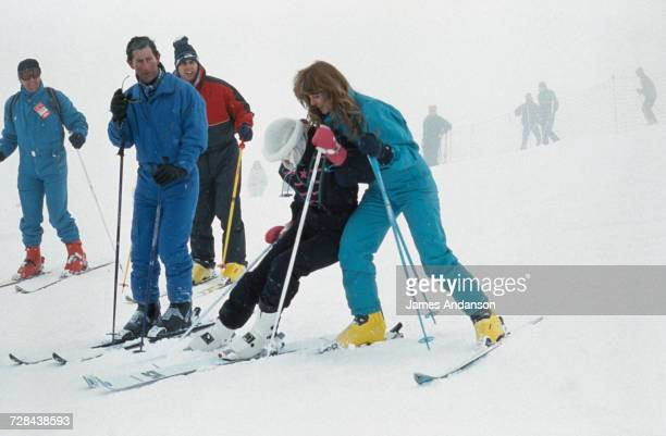 Prince Charles, the Duke of York, Princess Diana and the Duchess of York during a skiing holiday in Klosters, Switzerland, 17th February 1987.