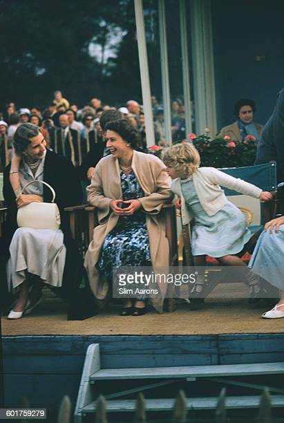 Princess Alice, Duchess of Gloucester , Queen Elizabeth II and Princess Anne at the Ascot Week polo tournament in Windsor Great Park, June 1955....