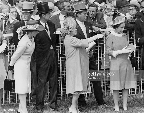 Princess Anne Prince Philip the Queen Mother and Queen Elizabeth II at the Derby Epsom Downs Racecourse Surrey 2nd June 1971
