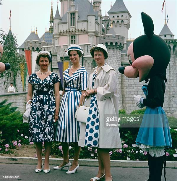 Princess Astrid of Norway, Princess Margaretha of Sweden and Princess Margaretha of Denmark in front of Sleeping Beauty's Castle at Disneyland,...