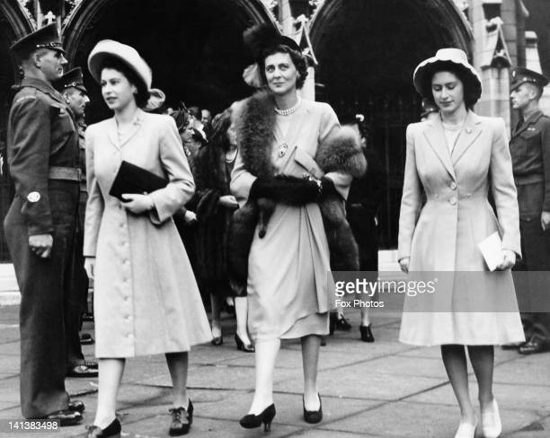 Princess Elizabeth later Queen Elizabeth II Princess Marina Duchess of Kent and Princess Margaret leaving St Margaret's church Westminster after the...