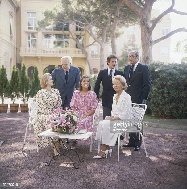 Princess Grace of Monaco with her husband Prince Rainier their daughter Princess Caroline and her fiance Philippe Junot at the Royal Palace Monte...