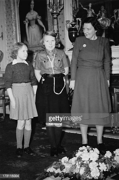 Princess Irene of the Netherlands, her sister Princess Beatrix and their mother Queen Juliana , 1950.