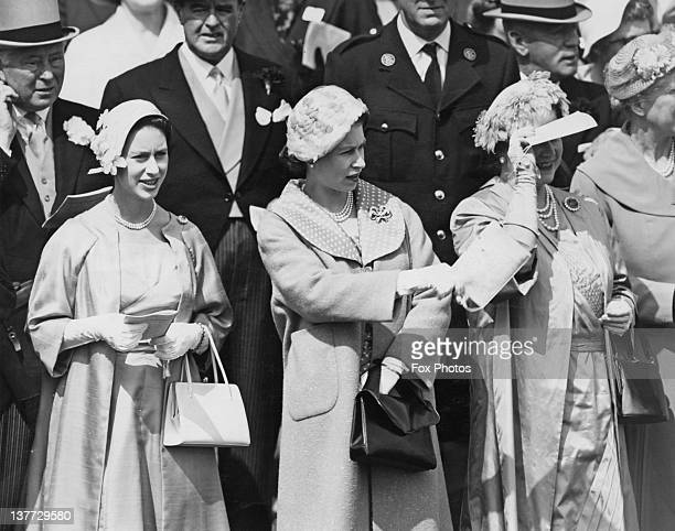 Princess Margaret Queen Elizabeth II and the Queen Mother at the Derby Epsom Downs Racecourse Surrey 4th June 1958