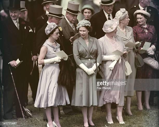 Princess Margaret , Queen Elizabeth II and the Queen Mother at the Derby, Epsom Downs Racecourse, Surrey, June 1958.