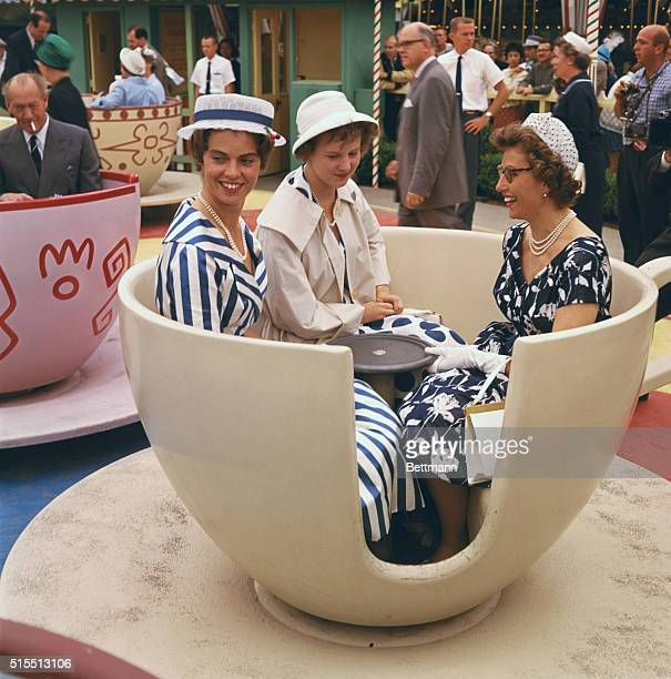 Princess Margaretha of Sweden, Princess Margaretha of Denmark and Princess Astrid of Norway, on a teacup ride at Disneyland, Anaheim, California,...
