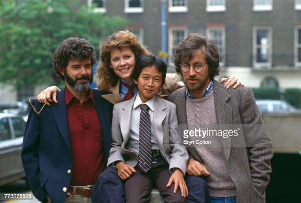 producer George Lucas actors Kate Capshaw and Jonathan Ke Quan and director Steven Spielberg pose whilst promoting their new film 'Indiana Jones and...