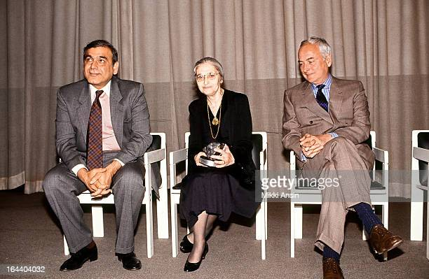 producer Ismail Merchant writer Ruth Prawer Jhabvala and director James Ivory on stage in Boston Massachussetts after Prawer Jhabvala received the...