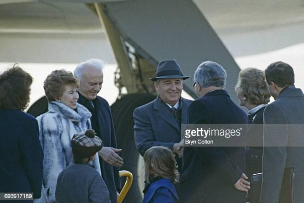Left to right Raisa Gorbachev wife of Mikhail Gorbachev Eduard Shevardnadze Russia's Foreign Minister Mikhail Gorbachev Russian Politburo member and...