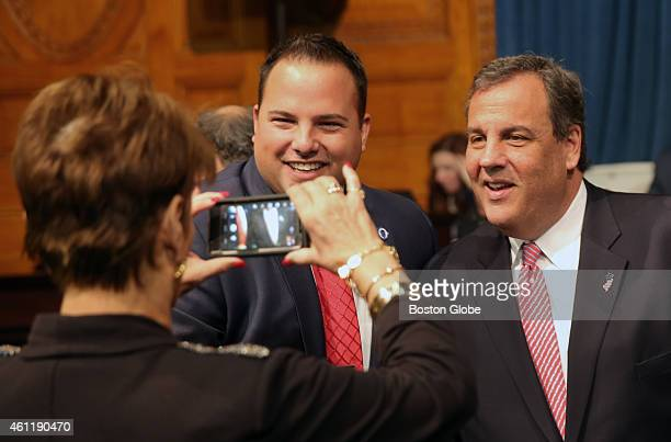 Left to right Representative David Muradian from Grafton with Governor Chris Christie at the Inaugural Celebration for Governor Charlie Baker at the...