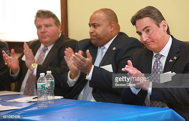Left to right Revere Mayor Daniel Rizzo Lawrence Mayor Daniel Rivera and Springfield Mayor Dominic J Sarno were some of the attendees of Mayor Martin...