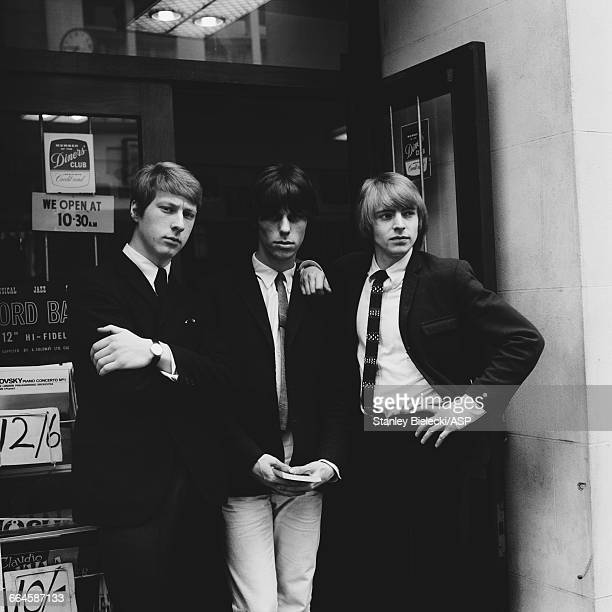 rhythm guitarist Chris Dreja guitarist Jeff Beck and singer Keith Relf of The Yardbirds outside a music shop in London 1965