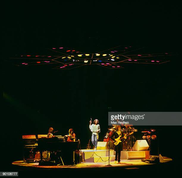 Left to right Rick Wakeman Steve Howe Jon Anderson Chris Squire and Alan White of Yes perform on stage at the Wembley Empire Pool London on October...