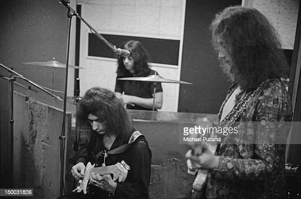 Ritchie Blackmore Ian Paice and Roger Glover of British rock group Deep Purple in a recording studio London 29th September 1970