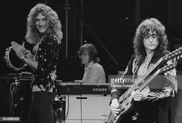 Robert Plant John Paul Jones and Jimmy Page of British heavy rock group Led Zeppelin performing at Earl's Court London May 1975 The band were...