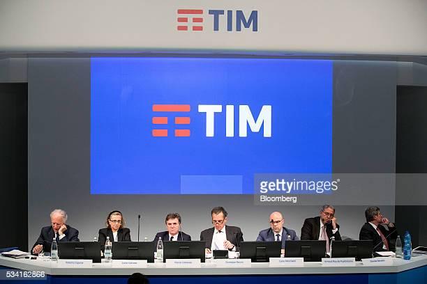 Left to right, Robeto Capone, acting auditor of Telecom Italia SpA, Lucia Calvosa, board member of Telecom Italia SpA, Flavio Cattaneo, chief...