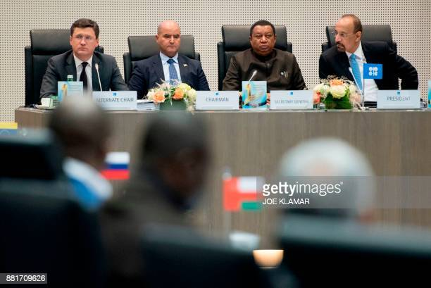 Russian energy minister Alexander Novak Kuwait's Oil minister Essam alMarzouk OPEC Secretary General Mohammed Barkindo and OPEC Conference President...