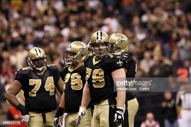 Left to right Saints offensive lineman Jermon Bushrod Jon Stinchcomb and Jonathan Goodwin during the New Orleans Saints win 4514 against the Arizona...