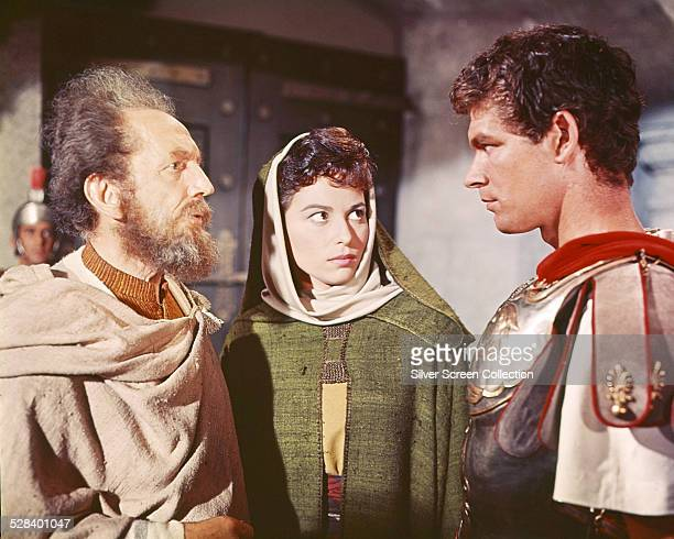 Sam Jaffe as Simonides Haya Harareet as Esther and Stephen Boyd as Messala in 'BenHur' directed by William Wyler 1959