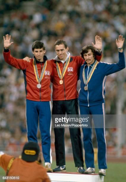 Left to right Sebastian Coe of Great Britain Steve Ovett of Great Britain and Nikolay Kirov of the Soviet Union following the medal presentation...