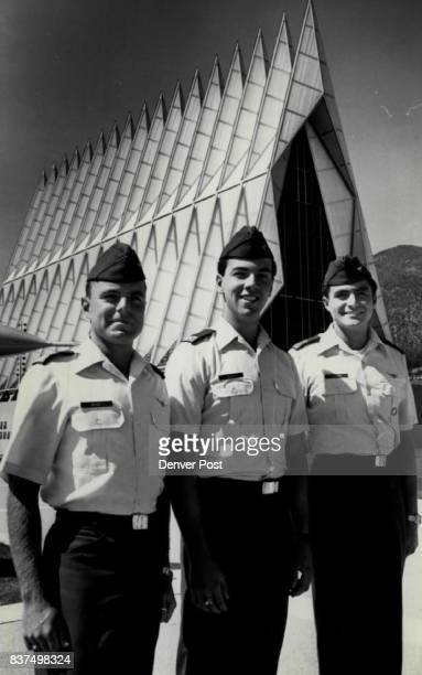 Left to right senior cadets Michael Beare of Uruquey Carlos Noack of Columbia Raul Cisneros of Panama They are Foreign Air Force Academy Cadets due...