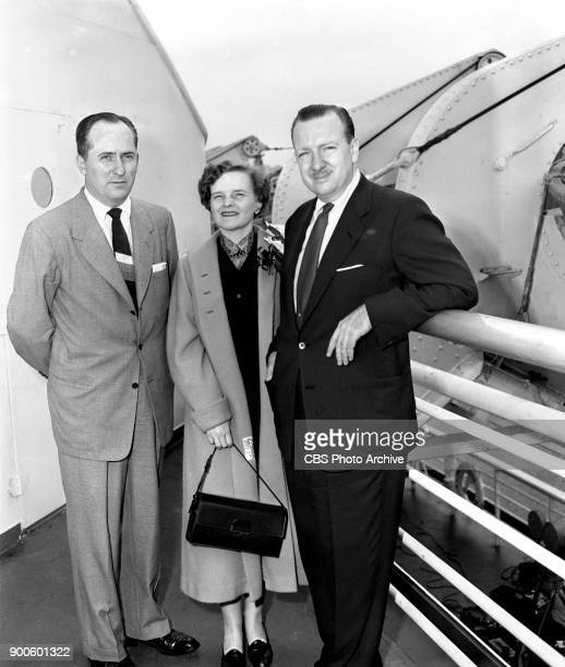 Left to right Sig Mickelson CBSTV director of news and public affairs Mrs Betsy Cronkite and Walter Cronkite CBS News reporter aboard the SS United...