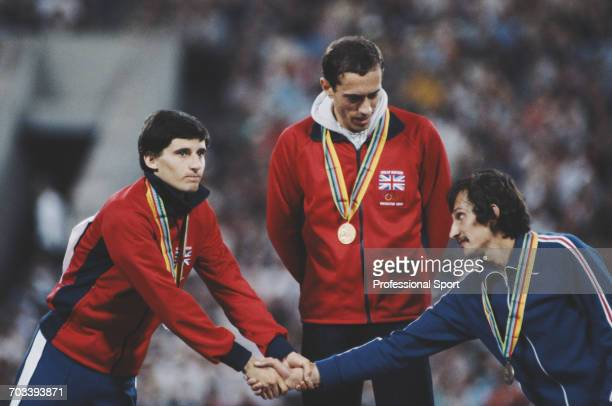 Left to right silver medal winner Sebastian Coe of Great Britain gold medal winner Steve Ovett of Great Britain and bronze medal winner Nikolay Kirov...