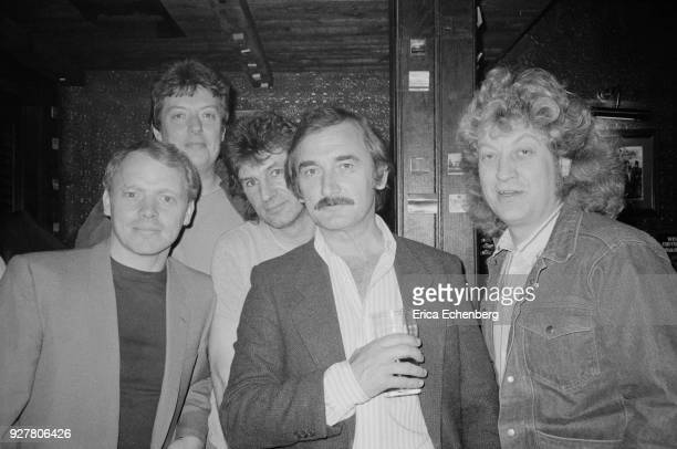 Singer Jim Diamond Slade manager Chas Chandler Slade drummer Don Powell music PR Keith Altham and Slade singer Noddy Holder at the Admiral Duncan Pub...