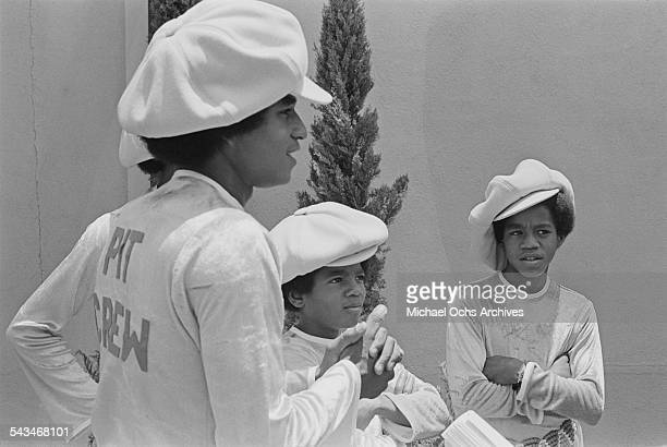 singers Jermaine Michael and Marlon Jackson of American pop group The Jackson 5 at ABCTV studios California 9th July 1971 The Jacksons are fiming...