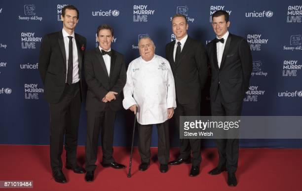 left to right Sir Andy Murray Rob Brydon Albert Roux OBE Sir Chris Hoy and Tim Henman OBE during a Fundraising Dinner ahead of Andy Murray Live at...