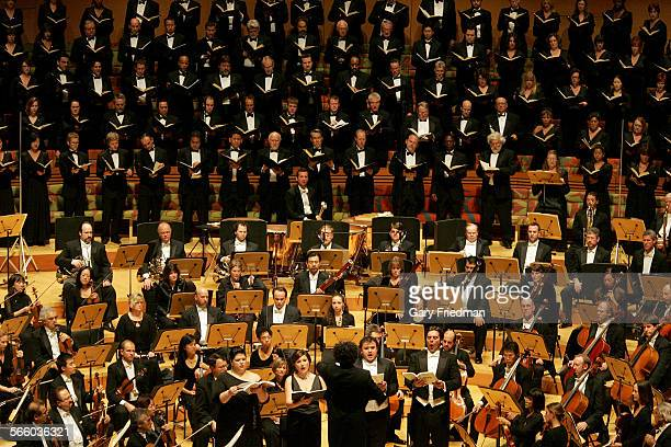 soloists Leah Crocetto Ekaterina Gubanova David Lomeli and John Relyea sing with Gustavo Dudamel conducting along with the Los Angeles Master Chorale...