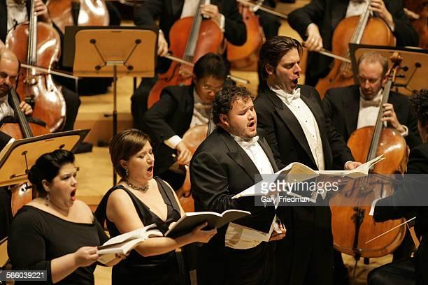 soloists Leah Crocetto Ekaterina Gubanova David Lomeli and John Relyea sing during the Los Angeles Philharmonic's presentation of Verdi at the Walt...