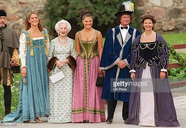 Left to right, Sweden''s Princess Madeleine, Princess Lilian, Princess Victoria, King Carl Gustav, and Queen Silvia pose for a photograph before...