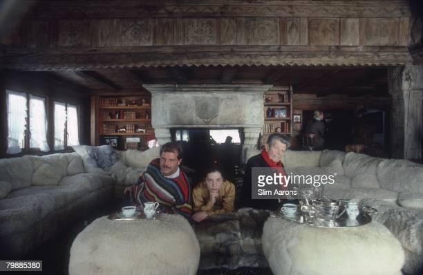 Swiss fashion designer Egon von Furstenberg his daughter Tatiana and his father Tassilo at a ski lodge in Gstaad Switzerland 1986
