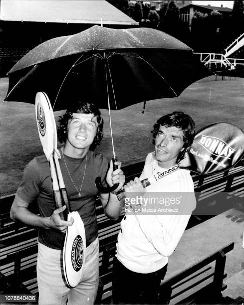 Left to right Swiss Tennis players Freddy Blatter and Peter Kanderal pictured at white city today they are here to compete in the NSW Open...
