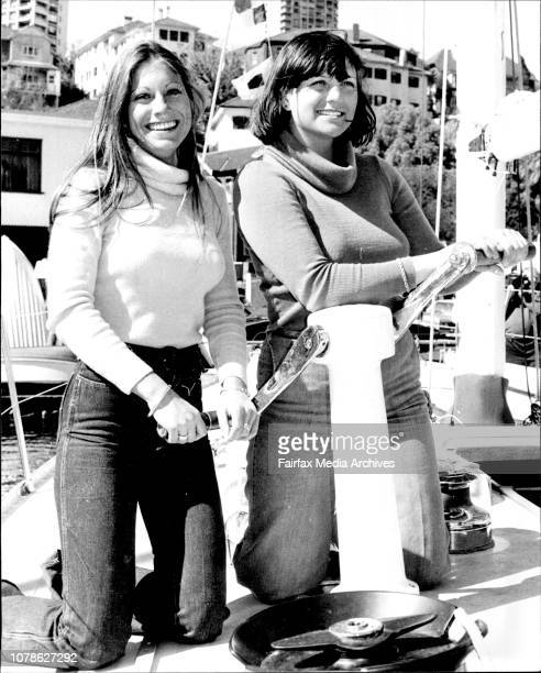 Left to right Syd Fischers two daughters Annabelle and Dominique aboard Ragamuffin after it was launched to day Syd Fischer's new yacht Ragamuffin...
