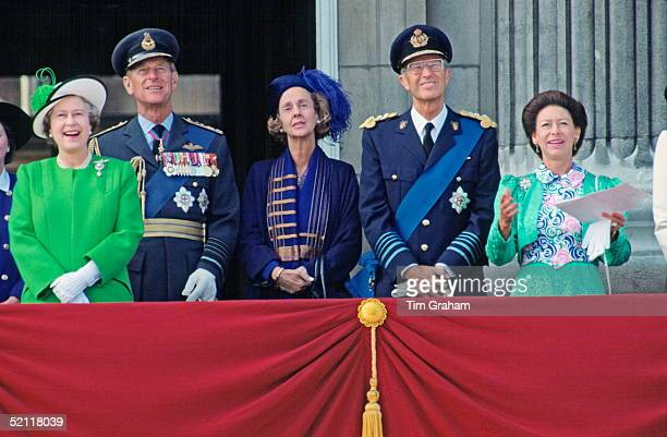 Left To Right: The Queen, Prince Philip, Queen Fabiola, King Baudouin And Princess Margaret On The Balcony At Buckingham Palace For The Battle Of...