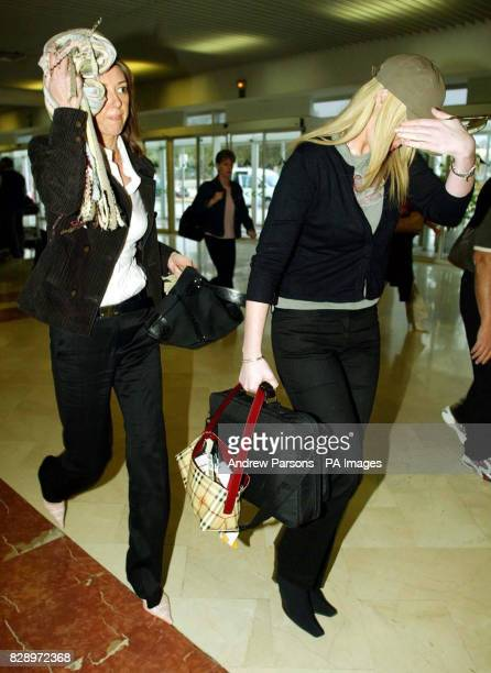 The wife of Leicester City Player Paul Dickov Janet and Kelly Maguire Keith Gillespie's partner arrive at Alicante airport Spain Keith Gillespie and...