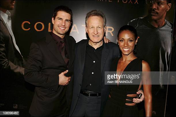 Left to right Tom Cruise director Michael Mann Jada Pinkett Smith in Paris France on August 30 2004
