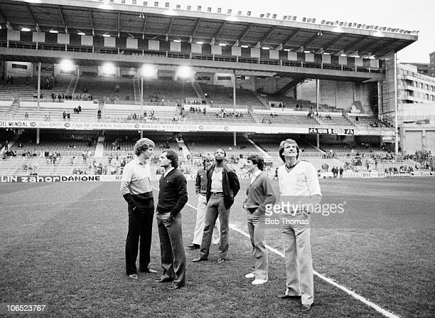 Tommy Caton Ray Wilkins Tony Morley Cyrille Regis Kenny Sansom and Phil Thompson of England prior to the Testimonial match against Athletico Bilbao...