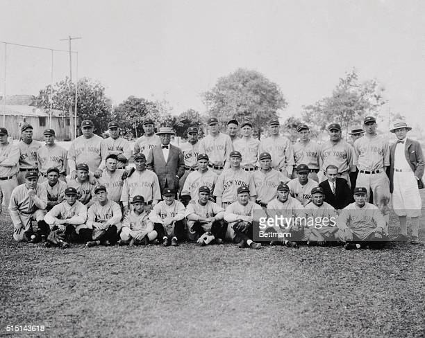 Left to right- top row- Walter Beall, Cedric Durst, Ray Moreheart, Babe Ruth, Dutch Reuther, George Pipgras, Col Jake Ruppert, Roy Chesterfield Bob...