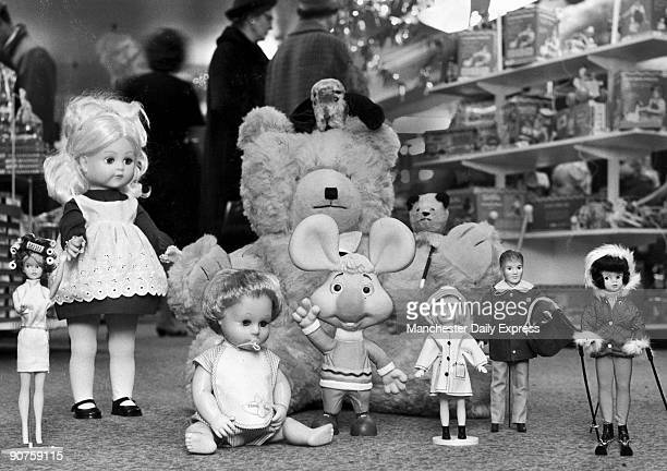 Left to right Tressy talking doll Tiny Tears giant teddy bear with Sweep peeping out from behind his head Topo Gigio the Italian mouse Sooty Patch...
