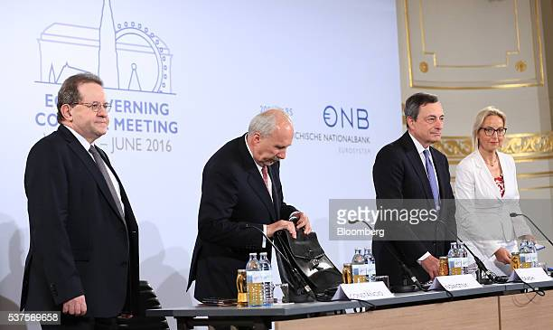 Left to right Vitor Constancio vice president of the European Central Bank Ewald Nowotny governor of Austria's central bank and ECB governing council...